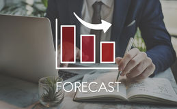 Recession Decrease Business Barchart Concept. Businessman Forecast Decrease Danger Concept Stock Images