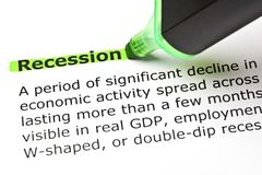 Recession Dictionary Definition Green Marker. Closeup shot of dictionary definition of the word Recession highlighted with green text marker royalty free stock photos