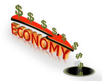 Recession Economy 3D Graphic. Illustration of dollar sign, down arrow and 3D text, Economy. Recession Conceptual image for the current economic crisis. Money Royalty Free Stock Photos