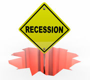 Recession Economy Warning Sign Financial Downturn. 3d Illustration Royalty Free Stock Image