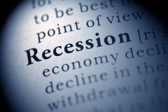 Recession. Fake Dictionary, Dictionary definition of the word Recession stock image