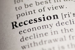Recession. Fake Dictionary, Dictionary definition of the word Recession. including key descriptive words stock photography