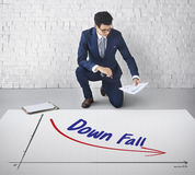 Recession Financial Risk Failure Decrease Concept. Businessman Sitting Recession Financial Risk Failure Decrease Stock Photos