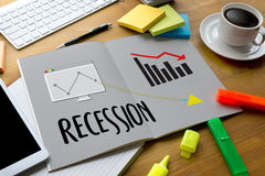 Recession Financial Risk Failure down , Business graph with arro. Ws tending Recession , Recession, global economy crisis , Economy crisis, recession. Stock Stock Photography