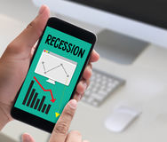 Recession Financial Risk Failure down , Business graph with arro Royalty Free Stock Photography