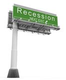 Recession Freeway Exit Sign. High resolution 3D render of freeway sign, Recession next exit stock image