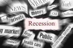 Recession news. Newspaper headlines showing bad news, recession related royalty free stock photos