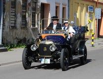 Recession with Oldtimer. XIV. International oldtimer rallye 500 km Slovakia - Panhard -Levassor 1912 - Jiří Kratochvíl with his wife  -  Czechia Royalty Free Stock Photography