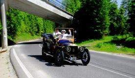 Recession with Oldtimer. XIV. International oldtimer rallye 500 km Slovakia - Panhard -Levassor 1912 - Jiří Kratochvíl with his wife  -  Czechia Stock Photo