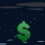 Recession rain. Dollar sign getting wet in the rain Stock Photos