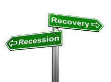 Recession or Recovery. Road Signs Indicating Recession and Recovery Stock Photos