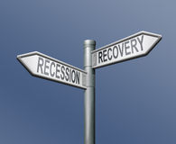 Recession or recovery global crisis bank crash Stock Photo