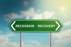 Recession and recovery on green road sign Stock Photos