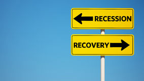 Recession and Recovery Sign with Clipping Path Royalty Free Stock Photos