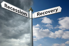 Recession or recovery Stock Images