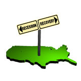 Recession recovery sign on USA map. Recession recovery sign post on map of USA illustration Stock Photos
