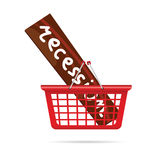 Recession in red basket vector illustration Royalty Free Stock Photos