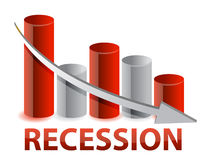 Recession red business graph illustration Stock Photos