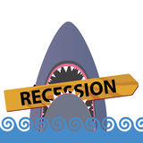Recession with shark color vector Stock Images