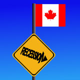 Recession sign Canadian flag vector illustration