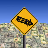 Recession sign with dollars royalty free illustration