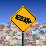 Recession sign with Euros royalty free illustration