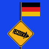 Recession sign with German flag stock illustration