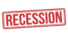 Recession sign or stamp. On white background, vector illustration stock illustration