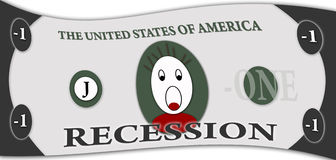 Recession in United States. Dollar bill sybolizing recession in the United States of America Royalty Free Stock Photos