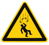 Recession Warning Danger Falling Currency Sign Stock Image