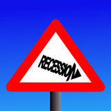Recession warning sign Royalty Free Stock Photography