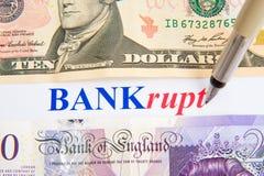 Recessione; banche messe fuori. Immagini Stock