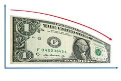Recessione di finanze da 1 schema del dollaro US. Isolato Immagine Stock Libera da Diritti