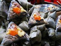 Receta china o Zongzi de las bolas de masa hervida del arroz pegajoso Imagen de archivo libre de regalías