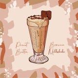 Receta de Brownie Milkshake de la mantequilla de cacahuete Elemento del menú para el café o restaurante con la bebida fresca de l libre illustration