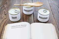 Receta de las tarjetas del día de San Valentín Imagen de archivo libre de regalías