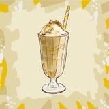 Receta del batido de leche del plátano o del caramelo Elemento del menú para el café o restaurante con la bebida fresca de la lec ilustración del vector