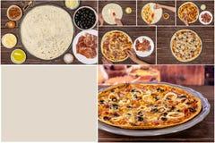 Receta del capriciosa de la pizza en la madera marrón imagenes de archivo