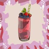 Receta del smoothie de la baya Elemento del menú para el café o restaurante con la bebida fresca enérgica Jugo fresco para la vid stock de ilustración