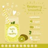 Receta del smoothie del kiwi Fotos de archivo