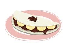 Receta dulce de la tapioca con el plátano y el chocolate Fotografía de archivo
