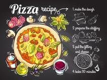 Receta italiana de la pizza Fotos de archivo