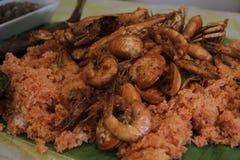 Receta pinoy del panlasang de la paella de los mariscos foto de archivo libre de regalías