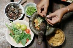 Receta tailandesa de la ensalada de la papaya Imagen de archivo libre de regalías