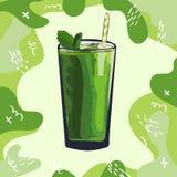 Receta verde del smoothie Elemento del men? para el caf? o restaurante con la bebida fresca en?rgica Jugo fresco para la vida san stock de ilustración