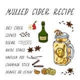 Recette chauffée de cidre Cidre chaud en Mason Jar Ou vin blanc chauffé Boisson de chauffage Menu de barre Collection de récolte  illustration libre de droits