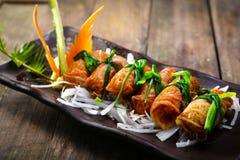 Recette coréenne pour le petit pain de riz d'algue de Kimbap Photos libres de droits