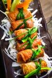 Recette coréenne pour le petit pain de riz d'algue de Kimbap Images stock