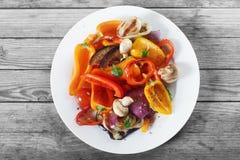 Recette cuite saine avec des champignons et des épices images stock