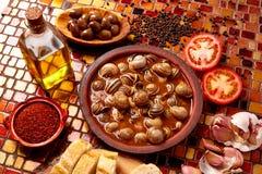 Recette d'escargot de Tapas d'Espagne Photographie stock